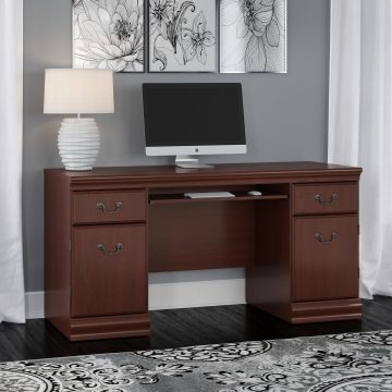 Credenza Desk with Keyboard Tray and Storage