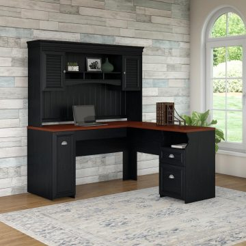 60W L Shaped Desk with Hutch