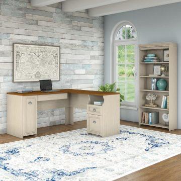 60W L Shaped Desk with 5 Shelf Bookcase