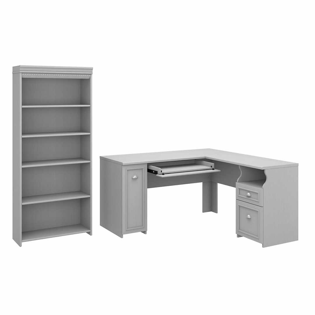 60W L Shaped Desk with 5 Shelf Bookcase
