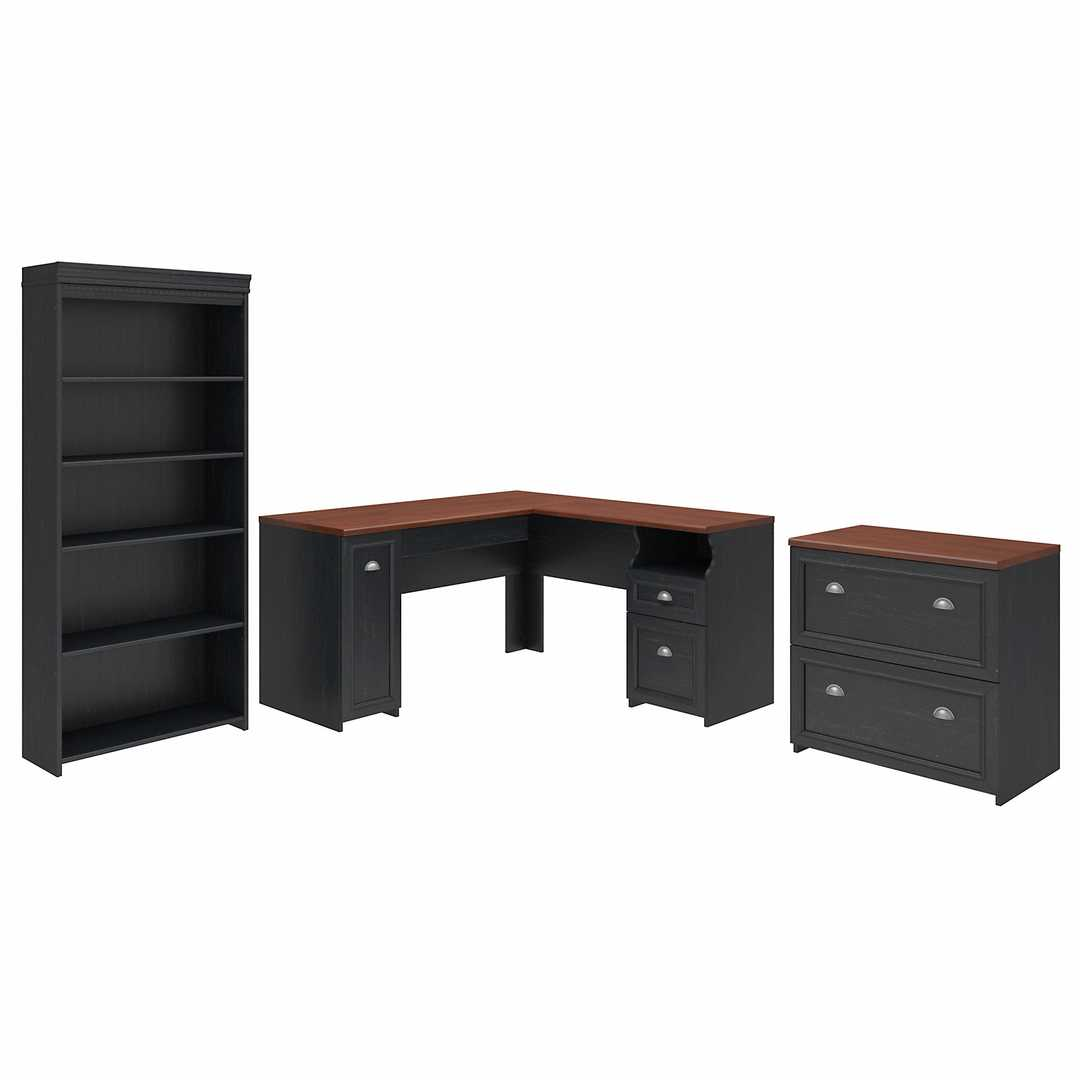 60W L Shaped Desk with Lateral File Cabinet and 5 Shelf Bookcase