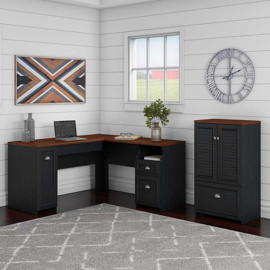 60W L Shaped Desk and 2 Door Storage Cabinet with File Drawer