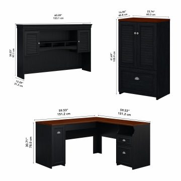 60W L Shaped Desk with Hutch and Storage Cabinet with File Drawer