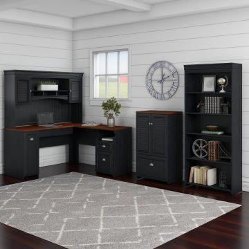 60W L Shaped Desk with Hutch, 5 Shelf Bookcase and Storage