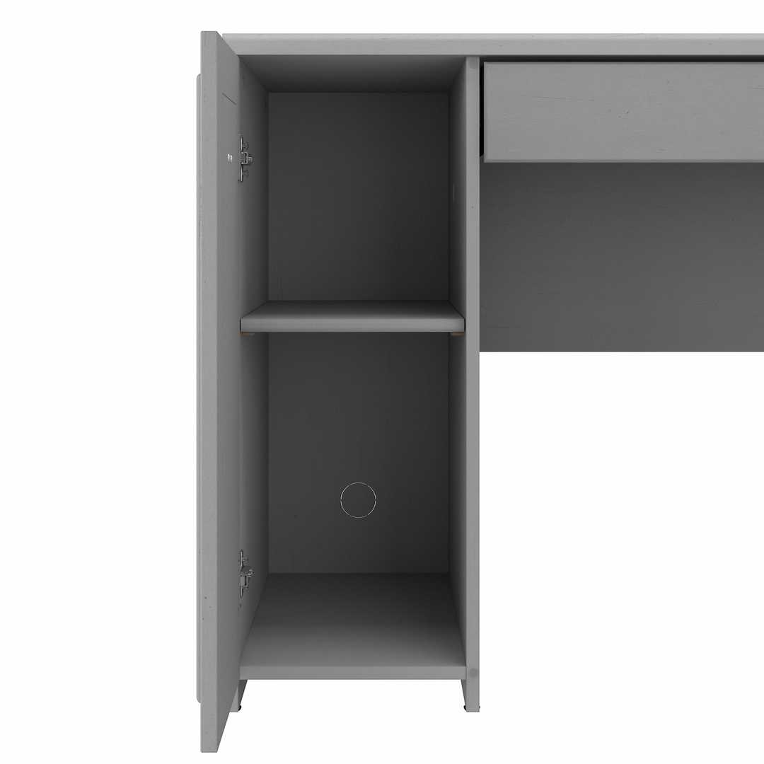 60W L Shaped Desk with Hutch and Small Storage Cabinet