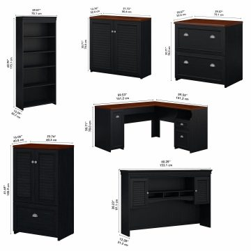 60W L Shaped Desk with Hutch, Bookcase, Storage and File Cabinets
