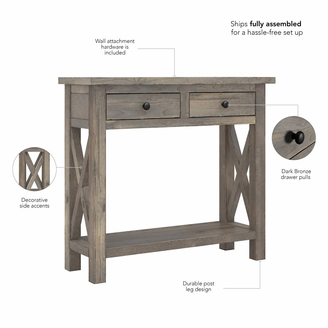 36W Narrow Console Table with Drawers - Assembled