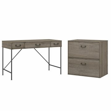 48W Writing Desk with 2 Drawer Lateral File Cabinet