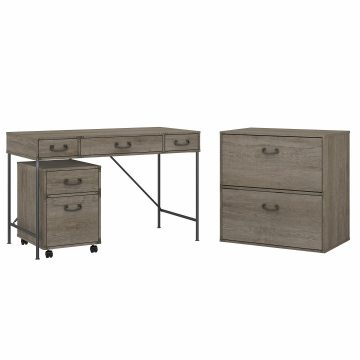 48W Writing Desk with File Cabinets