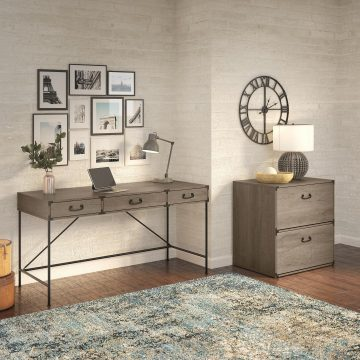 60W Writing Desk with 2 Drawer Lateral File Cabinet