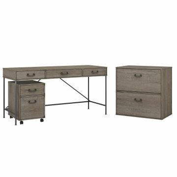 60W Writing Desk with File Cabinets
