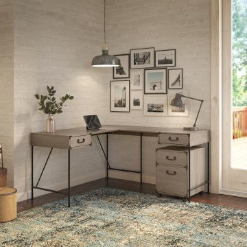 60W L Shaped Writing Desk with 2 Drawer Mobile File Cabinet