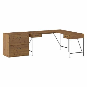 60W L Shaped Writing Desk with 2 Drawer Lateral File Cabinet