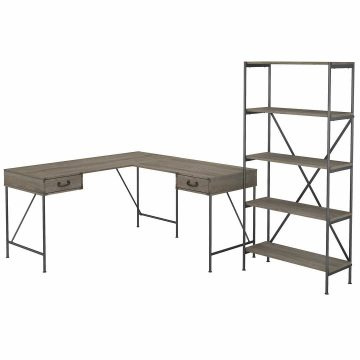 60W L Shaped Writing Desk with 5 Shelf Etagere Bookcase