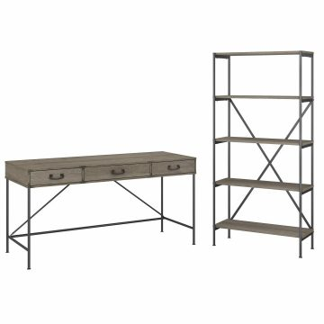 60W Writing Desk with Drawers and 5 Shelf Etagere Bookcase