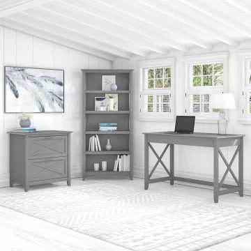 48W Writing Desk with Lateral File Cabinet and 5 Shelf Bookcase