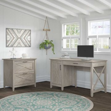 54W Computer Desk with Storage and 2 Drawer Lateral File Cabinet