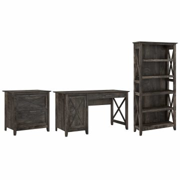 54W Computer Desk with Lateral File Cabinet and 5 Shelf Bookcase