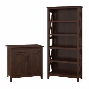Secretary Desk with Storage and 5 Shelf Bookcase
