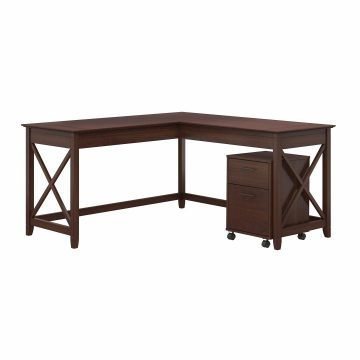 60W L Shaped Desk with 2 Drawer Mobile File Cabinet