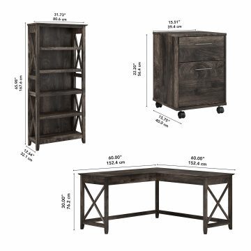 60W L Shaped Desk with Mobile File Cabinet and 5 Shelf Bookcase