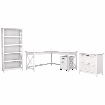 60W L Shaped Desk with File Cabinets and 5 Shelf Bookcase