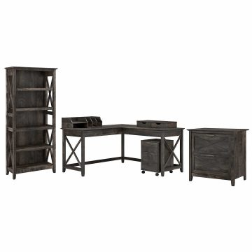 60W L Shaped Desk with File Cabinets, Bookcase and Desktop Organizers