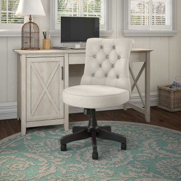 54W Computer Desk with Storage and Mid Back Tufted Office Chair