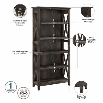 Tall TV Stand with Set of 2 Bookcases