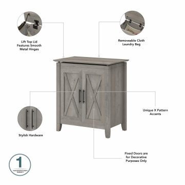 Tall Linen Cabinet and Laundry Hamper with Lid