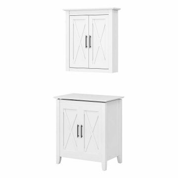 Laundry Hamper with Lid and Wall Cabinet with Doors