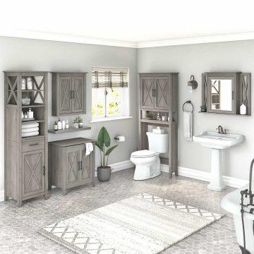 Farmhouse Bathroom Storage Set with Cabinets, Mirror, Hamper and Shelf
