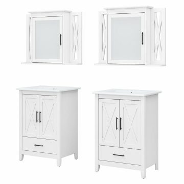 48W Double Vanity Set with Sinks and Medicine Cabinets