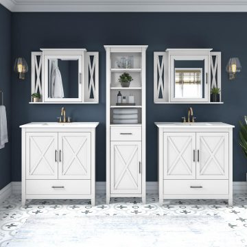 64W Double Vanity Set with Sinks, Medicine Cabinets and Linen Tower