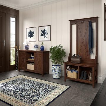 Entryway Storage Set with Hall Tree, Shoe Bench and 2 Door Cabinet