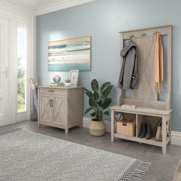 Entryway Storage Set with Hall Tree, Shoe Bench and Armoire Cabinet