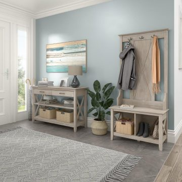 Entryway Storage Set with Hall Tree, Shoe Bench and Console Table