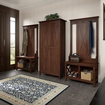 Entryway Storage Set with Hall Tree, Shoe Bench and Tall Cabinet