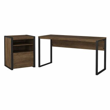 60W Writing Desk with Printer Stand File Cabinet