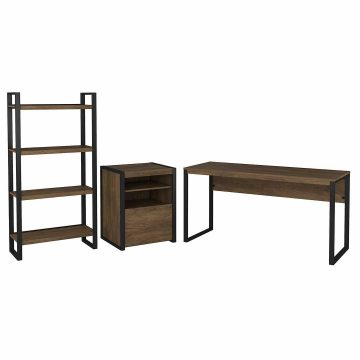 60W Writing Desk with Printer Stand and Etagere Bookcase