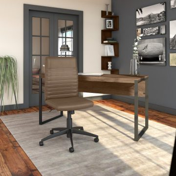 60W Writing Desk with Mid Back Ribbed Leather Office Chair
