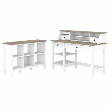 54W Computer Desk with Shelves, Desktop Organizer and 6 Cube Bookcase