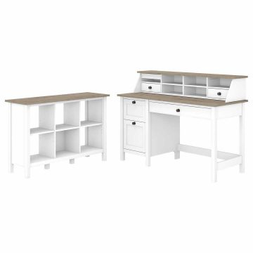 54W Computer Desk with Drawers, Desktop Organizer and 6 Cube Bookcase