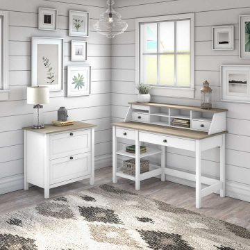 54W Computer Desk with Shelves, Organizer and Lateral File Cabinet