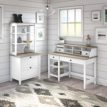 54W Computer Desk with Shelves, Organizer, File Cabinet and Hutch