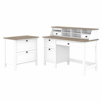 54W Computer Desk with Drawers, Organizer and Lateral File Cabinet