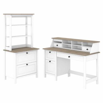 54W Computer Desk with Drawers, Organizer, File Cabinet and Hutch