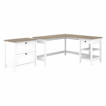 60W L Shaped Computer Desk with 2 Drawer Lateral File Cabinet