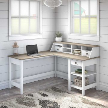 60W L Shaped Computer Desk with Desktop Organizer