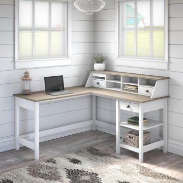60W L Shaped Computer Desk with Desktop Organizer